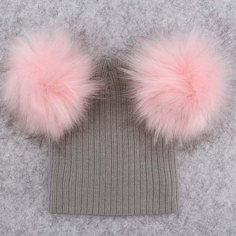 0e974e871c8 Gray Hat with Light Pink Double Pom Poms - Zo s Bows
